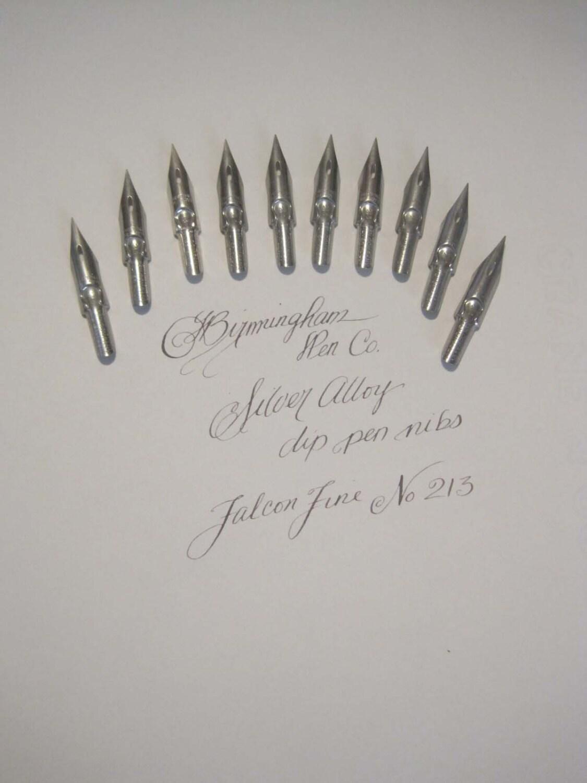 10 Silver Alloy Dip Pen Nibs For Calligraphy Or Spencerian