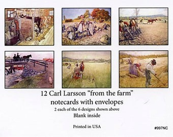 Carl Larsson Note cards 12 blank cards with white envelopes #997NC