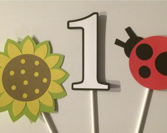 12 Ladybug and sunflower Cupcake Toppers