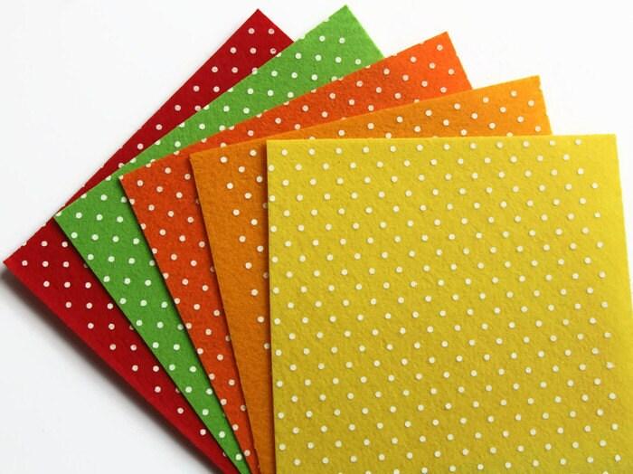 5 spring polka dot felt squares 15cms x 15cms 6 x 6 for Polka dot felt fabric