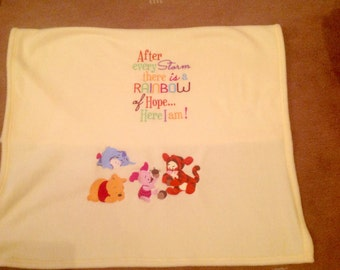 Baby fleece embroidered pram blanket