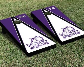 TCU Horned Frogs Cornhole Set - Triangle Version - Collegiate Licensed - Full Size Cornhole Set