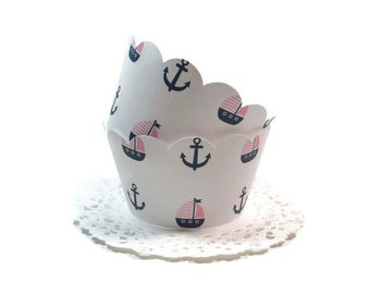 Nautical Cupcake Wrappers, Holders, Navy & Pink,  Anchor, Sailboat All Occasion, Set of 12, Standard Size