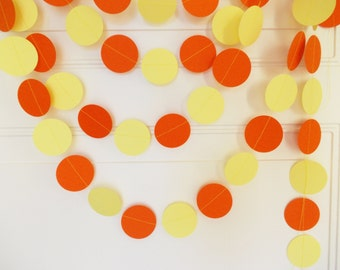 Party Paper Circle Garland, Orange & Yellow, Party Garland, Party Decoration, Decor 12' Circles