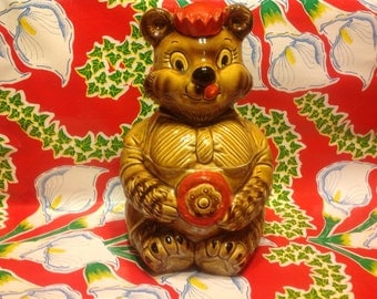 Vintage ceramic cookie jar featuring a bear wearing a cap and suit- Japan