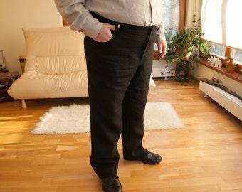 Black linen classic mens pants 3XL
