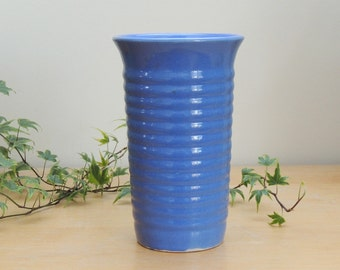 "Hull Pottery Mardi Gras Semi-Porcelain Cylinder Vase 8"" Tall Vintage 1940's"