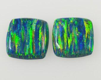 Lab Created Opal  Pair Cushion Cut 15mm