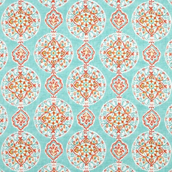valance 50 39 39 x16 39 39 coral and aqua dena designs mirage by