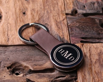 Personalized Round Leather Key Chain Monogrammed Groomsmen, Bridesmaid, Father's Day, Coworker Gift