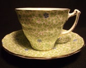 Sampson Smith Old Royal Bone China Green Leaves w/ Blue Floral Chintz Teacup and Saucer No 2608