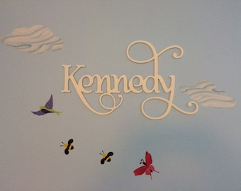 Painted Large Wooden Script Name, Word, or Phrase, Cursive Letters- perfect for your home, accent wall, child's room, or nursery, Name Sign