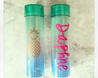 Personalized 13oz Blue/Green Ombre Water Bottle