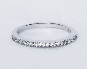 1.2mm wide White Sapphire Half Eternity ring  in white gold or Silver - stacking ring - wedding band - handmade engagement ring