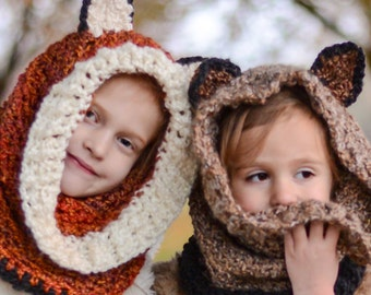 Kids Animal Hood, Warm Winter Hood, Soft Winter Hat, Fox Hat + Hood, Animal Hats, Winter Accessory for Kids, Adult Animal Hood, Cosplay Hood