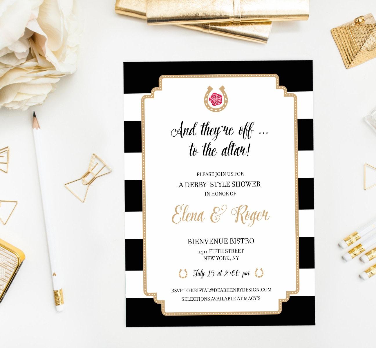 kentucky derby bridal shower invitation bachelorette garden