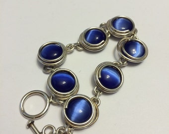 Vintage Sterling silver handmade blue cats eye bracelet, solid Mexico 925 silver wired handmade bracelet
