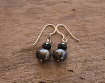 Sterling Silver Wire Earrings, Fresh Water Pearls and Cristals