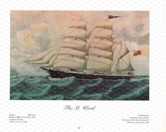 """Clipper Ship Book Plate. """"The M. Wood"""". 1967."""