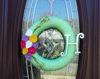 Light Green Spring Yarn Wreath
