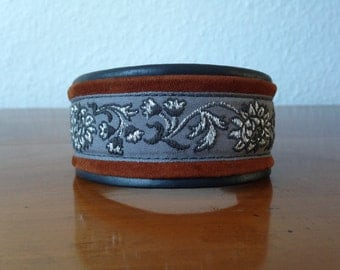 1016-beautiful Greyhound collar made of soft leather trim with brass buckle