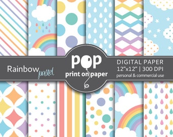 Rainbow digital paper, Pastel Rainbow digi paper, geometric digital paper, pastel digital paper, rainbow patterns, pastel diagonal stripes