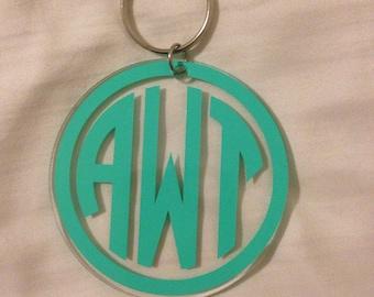 Personalized Vinyl Monogram Keychain