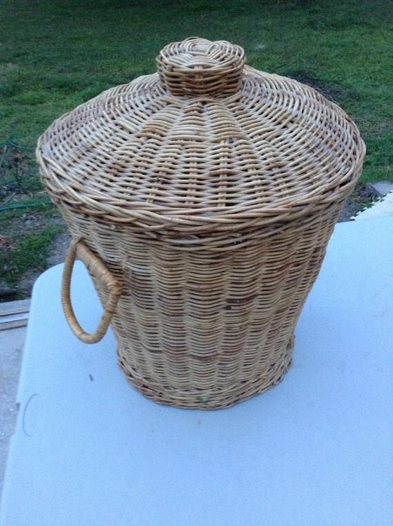 Wicker Wastebasket With Lid Small : Vintagenaturalwickerplanterwaste baskethamperwith