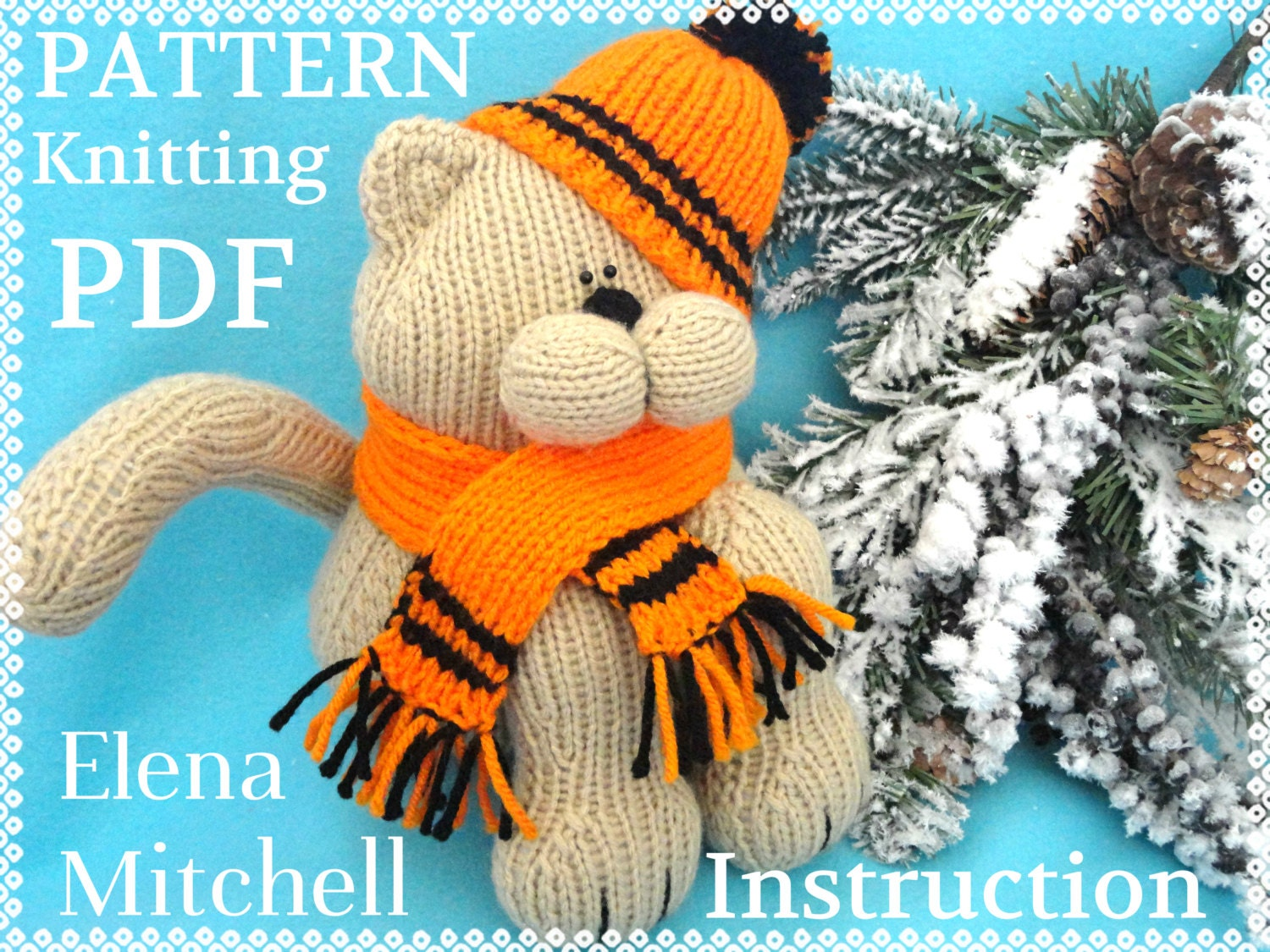 Knitting Patterns For Baby Animals : Knitting PATTERN Animal Knit Pattern Cat Animal Patterns Children Toy Knittin...