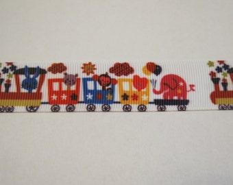 "SALE! 5 yards of 7/8 inch ""animal train"" grosgrain ribbon"