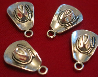 """10pc """"cowboy hat"""" charms in antique silver style (BC434)"""