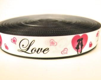 "5 yards of 7/8 inch ""Love"" grosgrain ribbon"