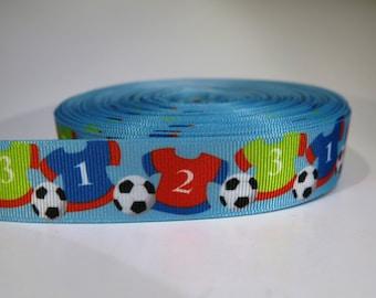 "5 yards of 7/8 inch ""Soccer shirts"" grosgrain ribbon"