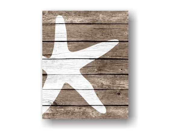 Starfish Art Print Rustic Nautical Wall Decor By Verboseprints