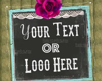 WOOD chalk board Vintage Restoration refurbished junk Logo Design can be used as website header