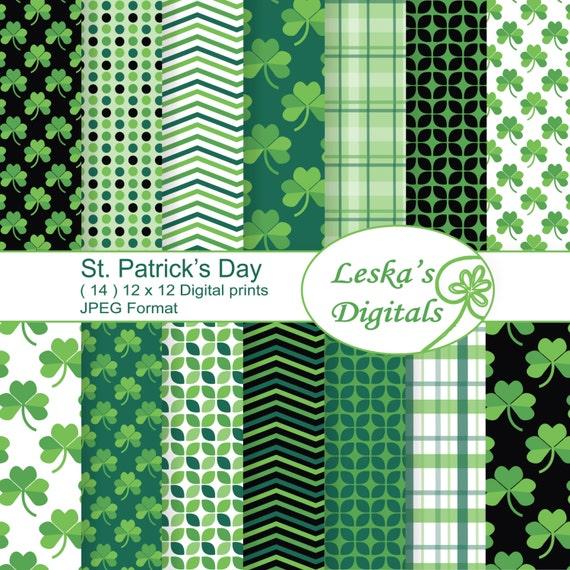 St Patricks Day Digital Paper Irish Digital Paper