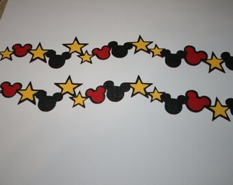 Disney - Mickey Heads and Stars Border Set - Die Cut Paper Piecing for Scrapbook Pages