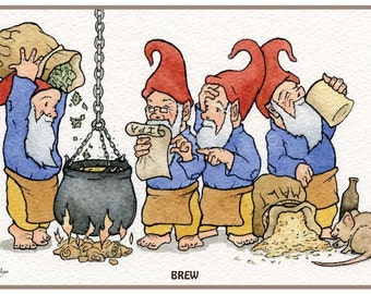 "Brewing With Gnomes, 3 individual prints of the brewing process, QTY:3, 8"" x 5.5"" signed prints."