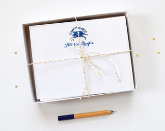 Nautical Personalized Stationery Set | Personalized Note Cards | Blue Crab Personalized Note Cards