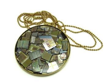 A Computer Chip And Wafer Necklace ///  Hand made /// upcycle