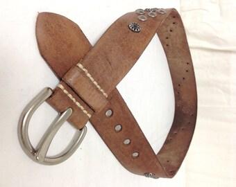 Studded Leather Belt ,studded belt, Brown, leather,Studded, Pewter Tone Buckle, Medium