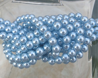 6mm Light Blue Colored Glass Pearl Strand 16in. (i125)