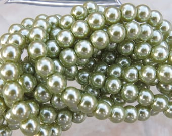 6mm Light Green Colored Glass Pearl Strand 16in. (i137)