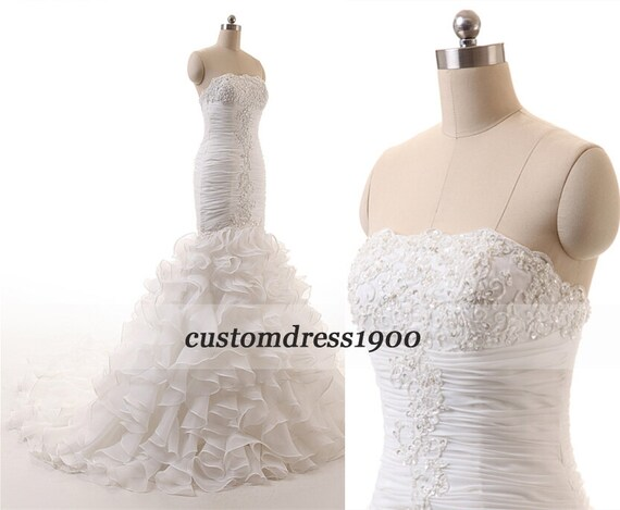 Ivory Crepe Open Back Wedding Dress And Handmade: White/Ivory Exquisite Strapless Wedding Dresses By