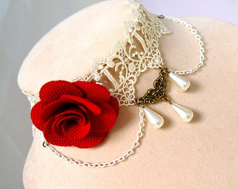 Handmade Rose Gothic wedding necklace with lace