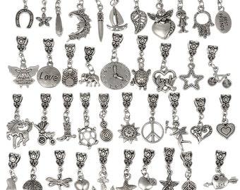 eArt Dangle Charm Beads Mix Tibetan Silver Charms fit European Bracelet Free Shipping  #TIBETDAN-MIX-101