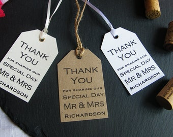 Personalised Wedding Thank You For Sharing Special Day Favour Tags - Vintage