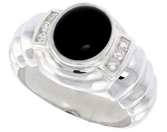 "Sterling Silver Gents' Ring w/ Oval-shaped Black Onyx & 6 Tiny Cubic Zirconia Stones, 9/16"" (14mm) wide, Sizes 5 - 9"