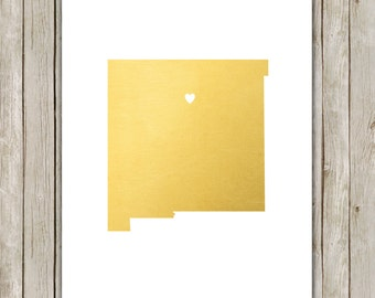 8x10 New Mexico State Print, Geography Art, Metallic Gold Printable Art, New Mexico Poster, Office Art, Home Decor, Instant Digital Download