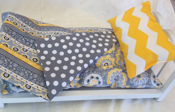 Doll Bedding perfect for American Girl Dolls- yellow and grey